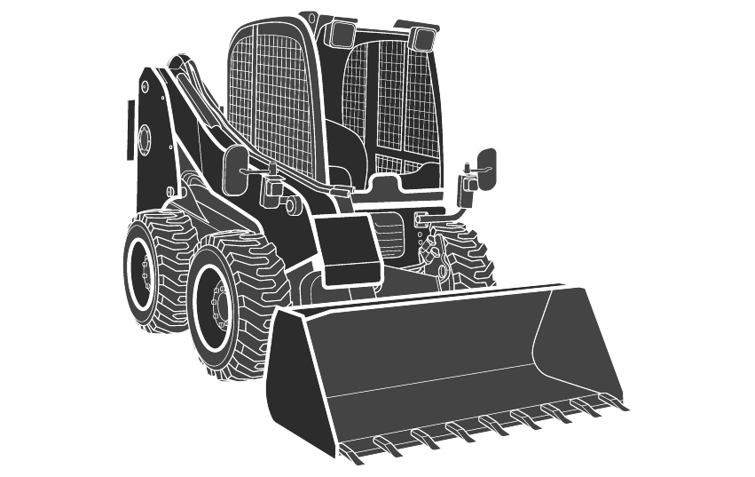 Outline diagram of hydraulic cylinders for skid steer loader
