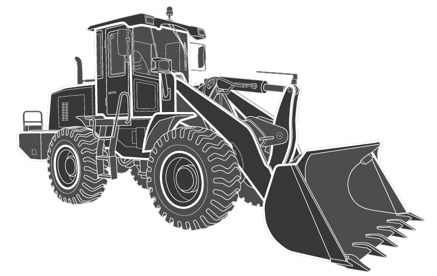 Outline diagram of hydraulic cylinders for wheel loader